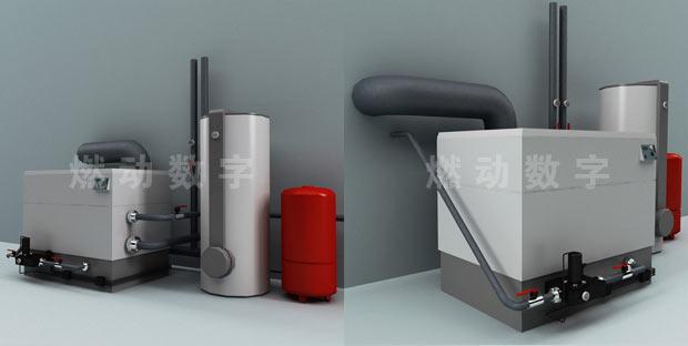家用供暖取暖系统三维