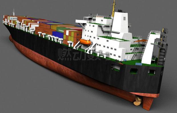 集装箱滚装船三维动画